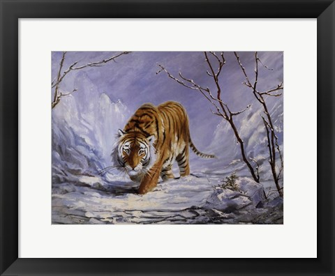 Framed Tiger in the Snow Print