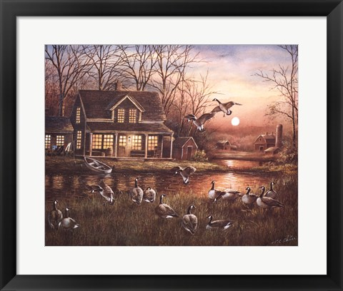 Framed Geese by the Lake Print