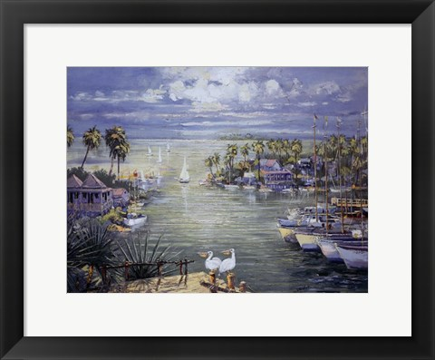 Framed Safe Harbor With Pelicans Print
