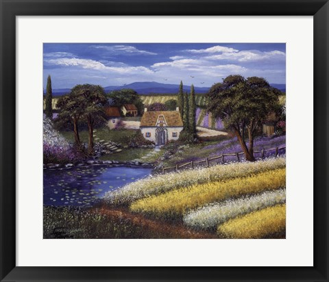 Framed Pond in the Fields Print