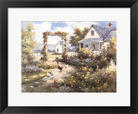 Framed Country Home with  Front Garden Print