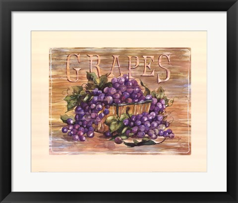 Framed Fruit Stand Grapes Print
