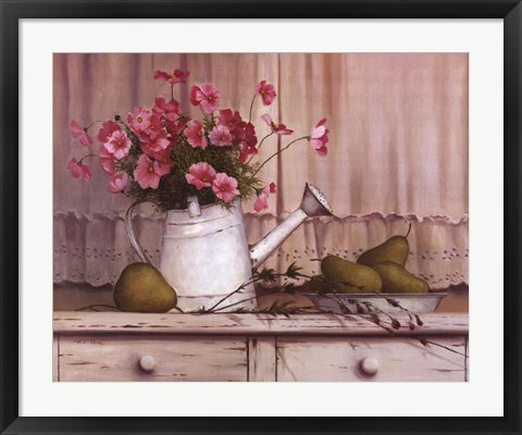 Framed Pink Flowers and Pears Print