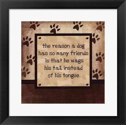 Framed Dog Wags Tail Print