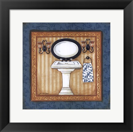 Framed Blue Slipper Bath II Print