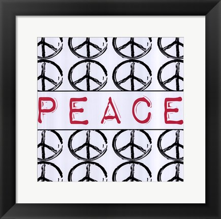 Framed Peace - Pink with Peace Signs Print