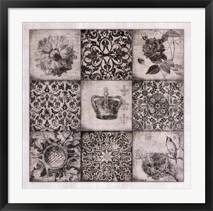 Framed Black And White Nine Patch Print