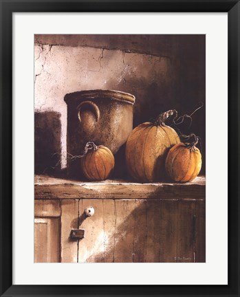 Framed Crock and Pumpkins Print