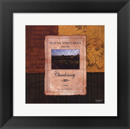 Framed Chardonnay Wine Label Print