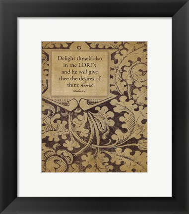 Framed Delight Thyself Print