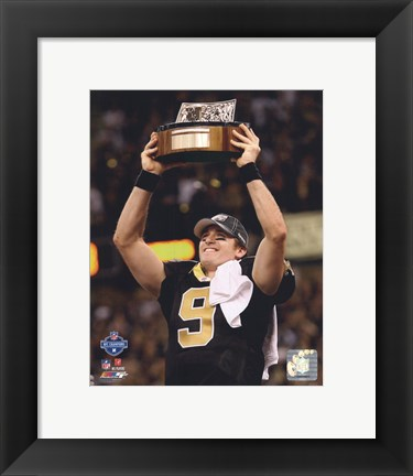 Framed Drew Brees 2009 With NFC Championship Trophy Print