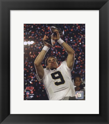 Framed Drew Brees with the Vince Lombardi Trophy Super Bowl XLIV (#25) Print