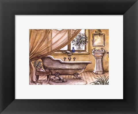 Framed Vintage Bathtub lV Print
