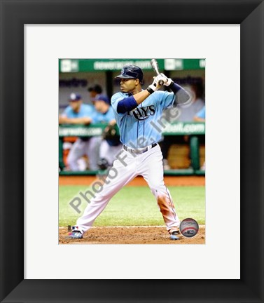 Framed Carl Crawford 2010 Batting Action Print