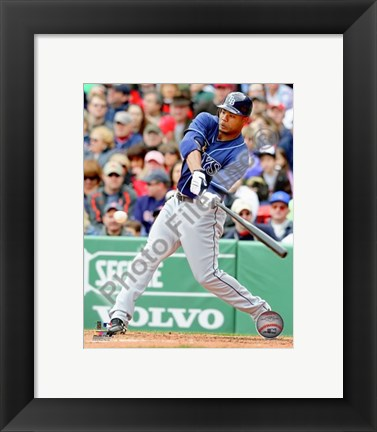 Framed Carl Crawford 2010 Action Hitting Print