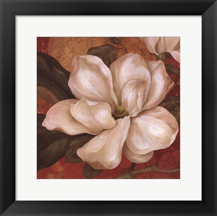 Framed Magnolia On Red II - mini Print