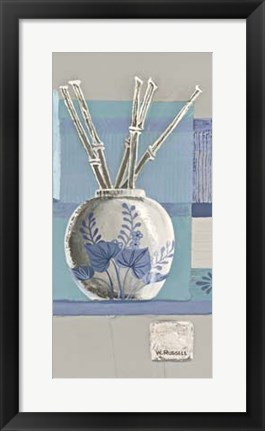 Framed Blue Asian Collage I Print
