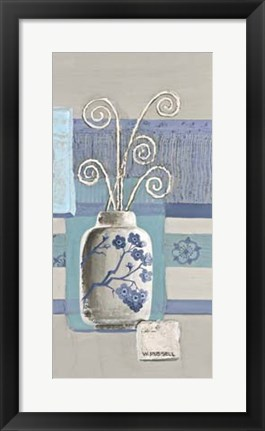 Framed Blue Asian Collage III Print