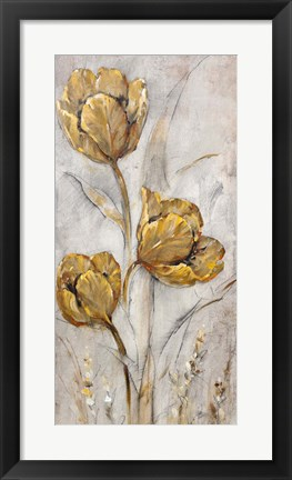 Framed Golden Poppies on Taupe II Print