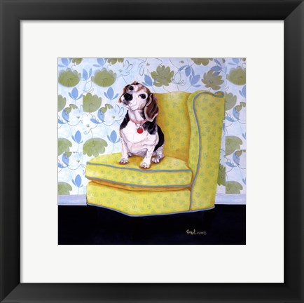 Framed Beagle on Yellow Print