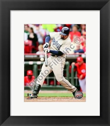 Framed Adrian Gonzalez 2010 Action Bunting Print