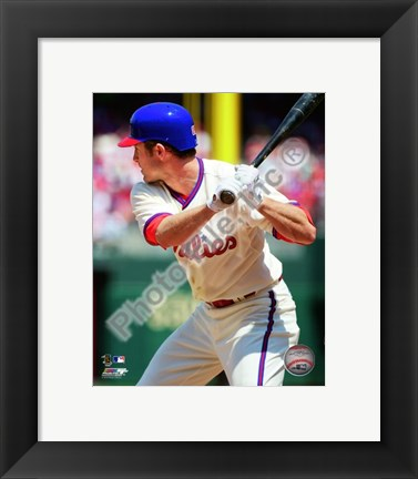 Framed Chase Utley batting in 2010 Print