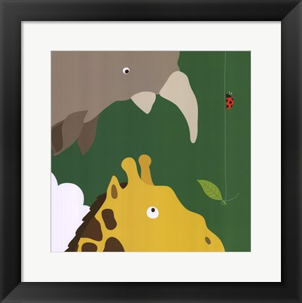 Framed Safari Group: Giraffe and Rhino Print