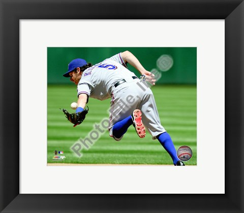 Framed Ian Kinsler 2010 Action Catching Print