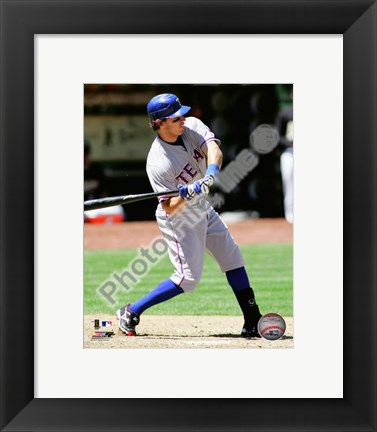 Framed Ian Kinsler 2010 Action Hitting Print