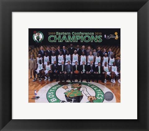 Framed 2009-10 Boston Celtics Team Photo with Eastern Conference Champions Overlay Print