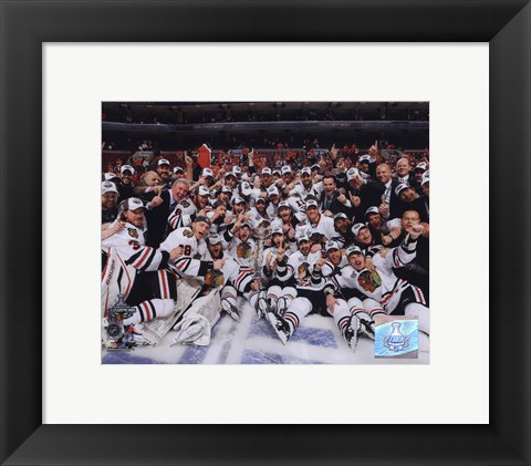 Framed 2009-10 Chicago Blackhawks Team Celebration on Ice Print