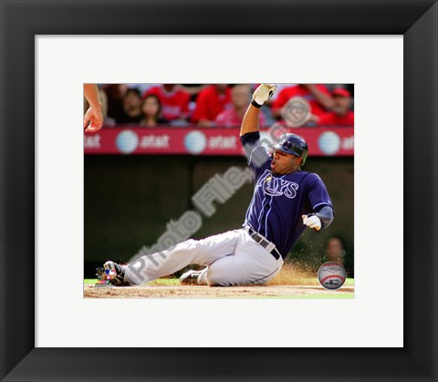 Framed Carl Crawford 2010 Action Sliding In To Base Print