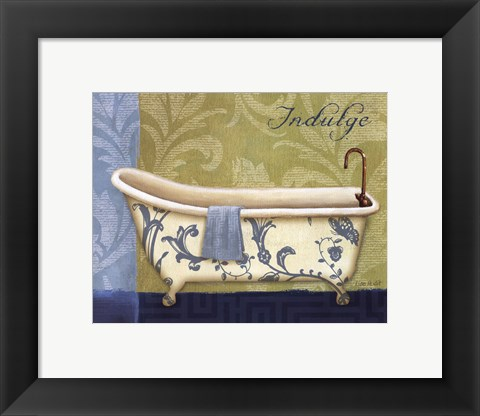 Framed Blue Botanical Bath I Print