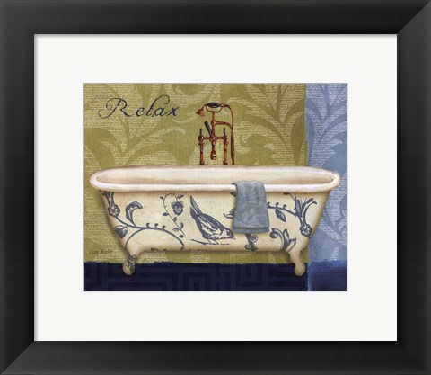 Framed Blue Botanical Bath II Print