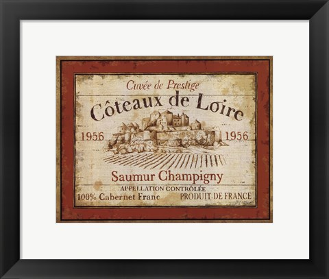 Framed French Wine Labels II Print