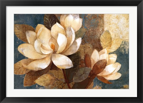 Framed Turquoise Magnolias Print