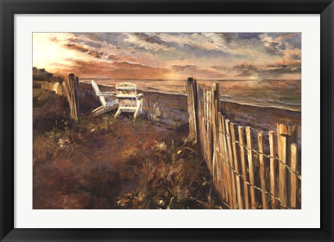 Framed Beach at Sunset Print