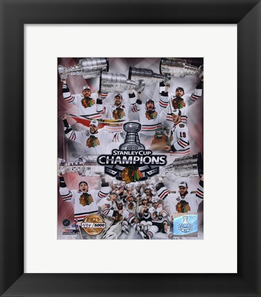 Framed Chicago Blackhawks Stanley Cup Champions PF GOLD Print