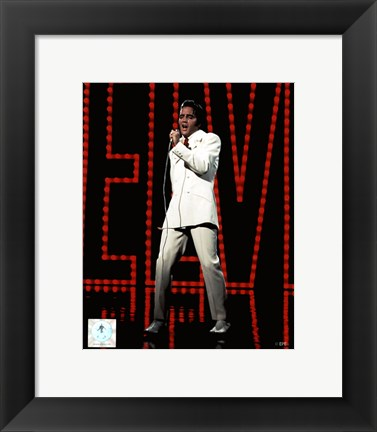 Framed Elvis Presley Wearing White Suit (#5) Print