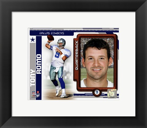 Framed Tony Romo 2010 Studio Plus Print