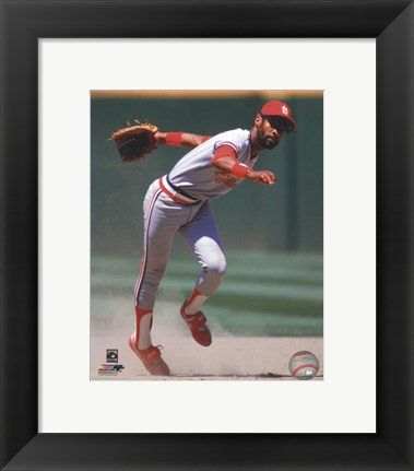 Framed Ozzie Smith 1985 Action Print