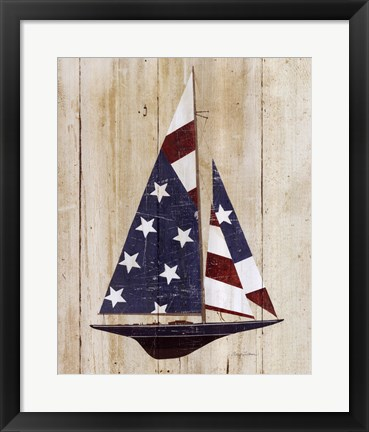 Framed American Flag Sailboat Print