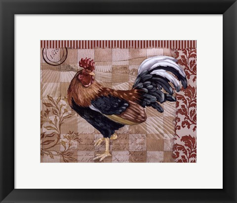 Framed Bergerac Rooster Red II - mini Print