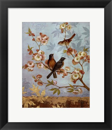 Framed Robins & Blooms - mini Print
