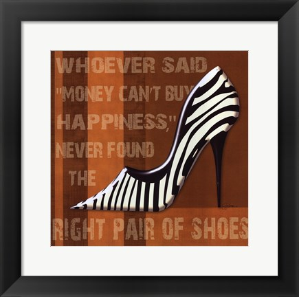 Framed Zebra Shoe Print