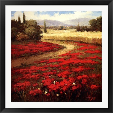 Framed Red Poppy Trail Print