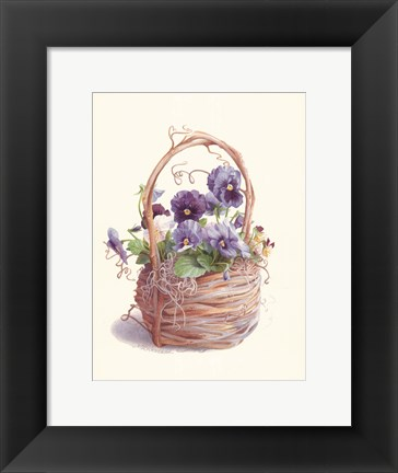 Framed Grapevine Pansy Basket Print