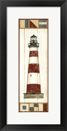 Framed Americana Lighthouse I Print