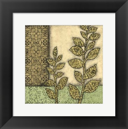 Framed Sm Green Leaves & Patterns II (P) Print