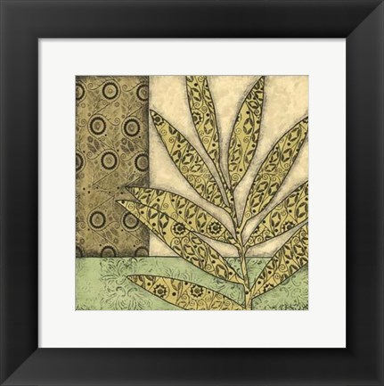 Framed Sm Green Leaves & Patterns IV (P) Print
